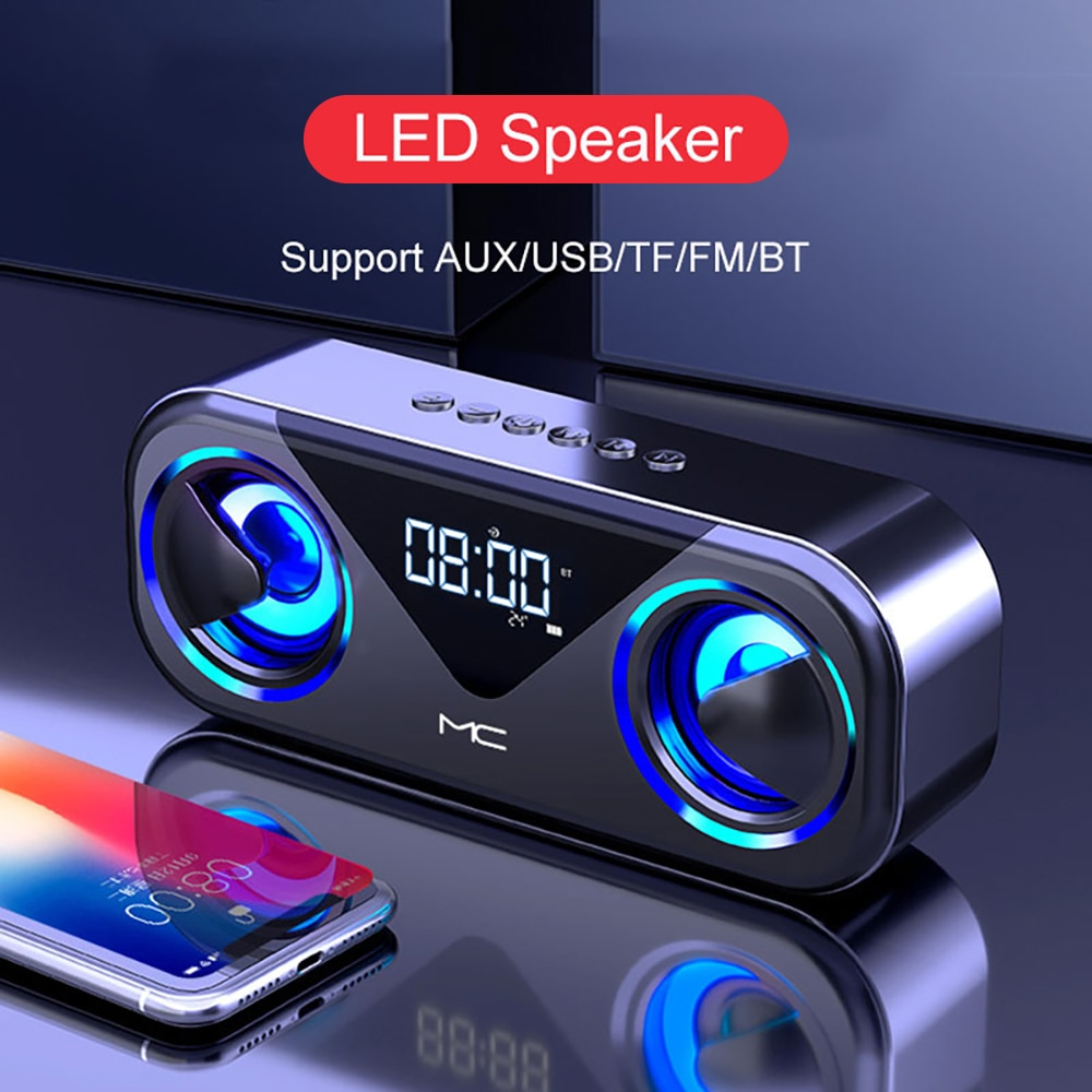 Altavoz Bluetooth con Radio FM para cine en casa, altavoz LED con...