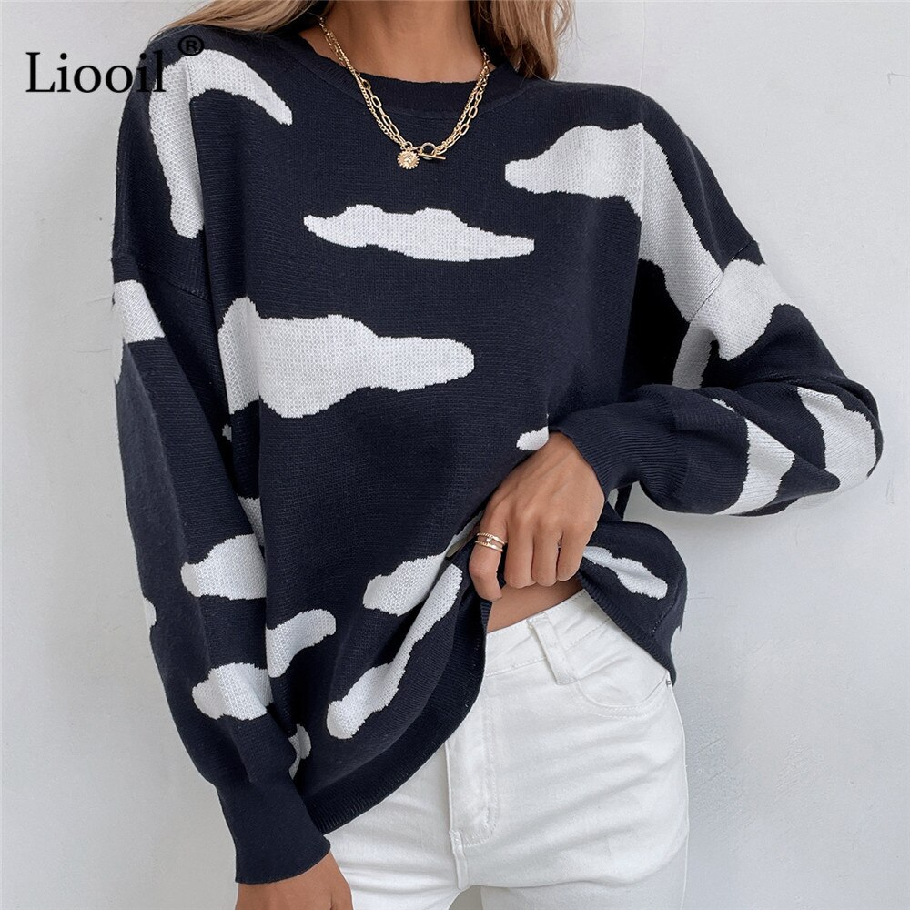 Streetwear Cloud Sweater Women Knitted Pullover Tops Patchwork Autumn 2021 New Long Sleeve Pull Jumpers Black Loose Sweaters