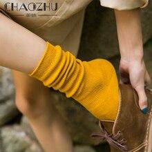 CHAOZHU calzini alti per ragazze delle scuole superiori della corea giapponese colori solidi sciolti doppi ferri da maglia calzini lunghi in cotone da donna