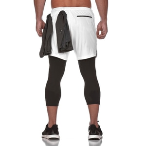 New Style Men Fitness 2 in 1 Slim Legs Soft Reduction Comfortable Breathable Quick-Dry Tight-Fit Athletic Pants