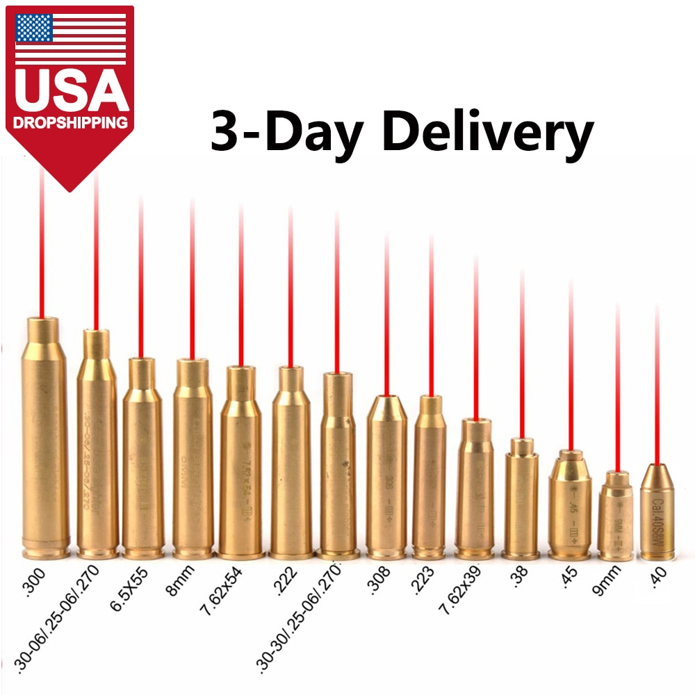 USA Dropshipping Red Dot Laser Brass Boresight CAL Cartridge Bore Sighter For Scope Hunting