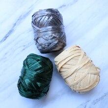 Personalizado, rafia de algodón, hilo de ganchillo para tejer hilo de punto, DIY, bolsa tejida hecha a mano, accesorios de sombrero
