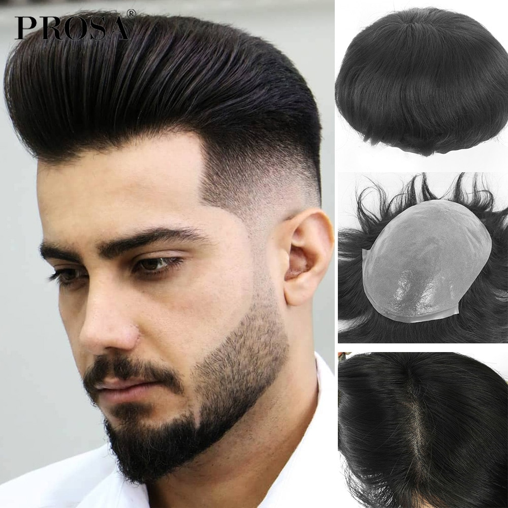 0.04mm Skin Full PU Slight Wave Men's Wig Man Hair System for Men Fashion Natural Male Wig Man Hairpiece Natural Mens