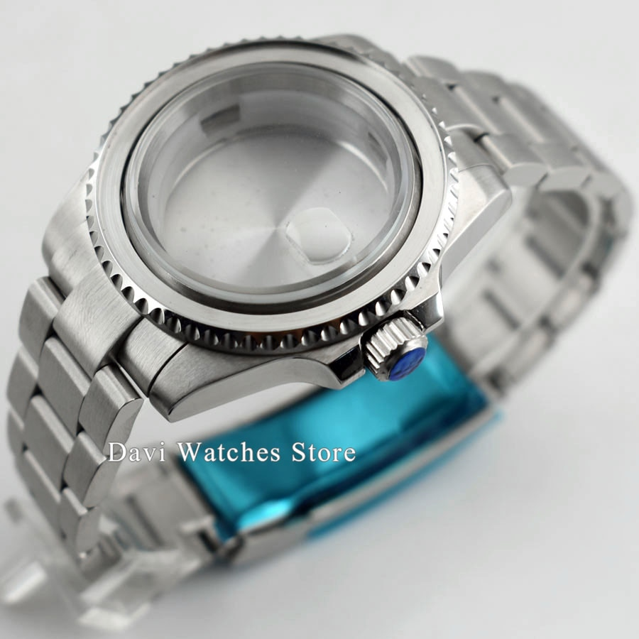 Cajas de reloj de plata de acero inoxidable 316L de cristal de zafiro de alta calidad de 40mm se ajustan a la serie ETA2836 Miyota 82 movimiento automático