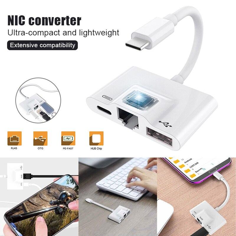 Convertidor NIC tipo C Cable adaptador de Ethernet de conexión de teléfono inteligente a RJ45 VDX99