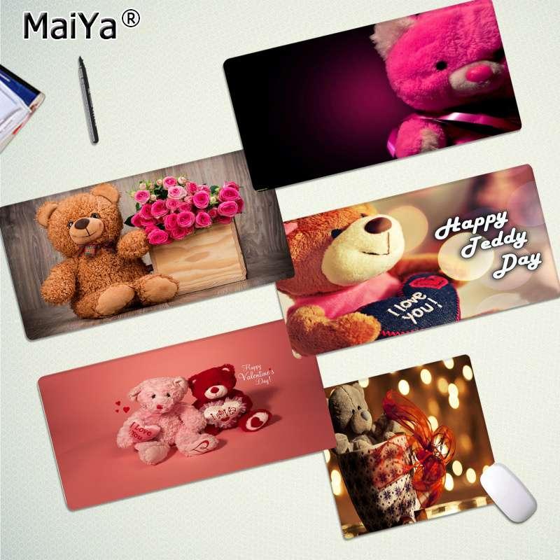 Maiya, alfombrilla para teclado de Anime Happy Bear Day, alfombrilla de ratón de goma para jugar, alfombrilla de escritorio de goma, alfombrilla de ratón Gaming de ordenador para PC