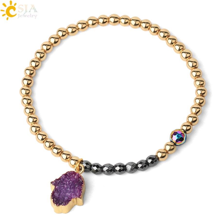 Csja pulseira feminina ouro-cor 4mm contas de corrente de cobre energia magnética hematite pulseiras masculino druzy hamsa mão charme pulseiras f621