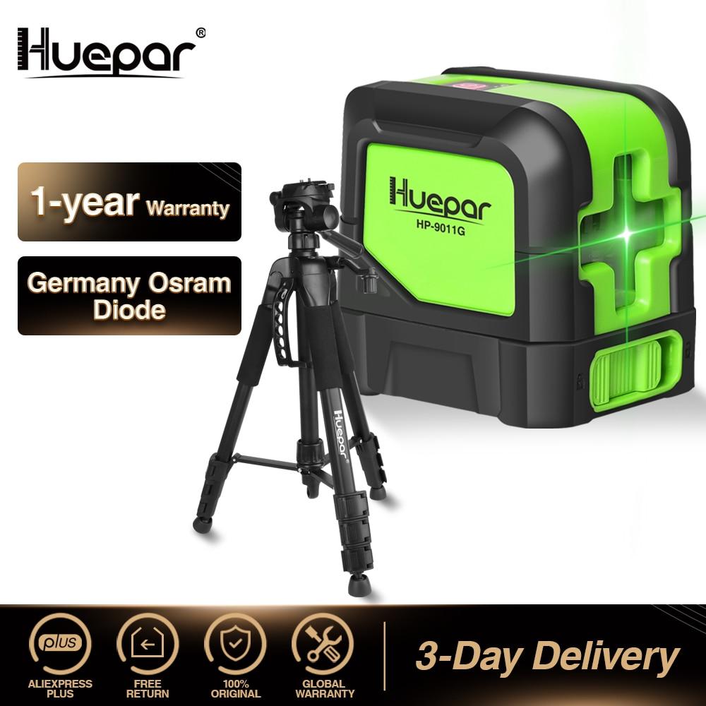 Huepar Green Beam Cross Line Laser Self-Leveling Laser Level + Multi-function Travel Camera Adjustable Laser Level Tripod