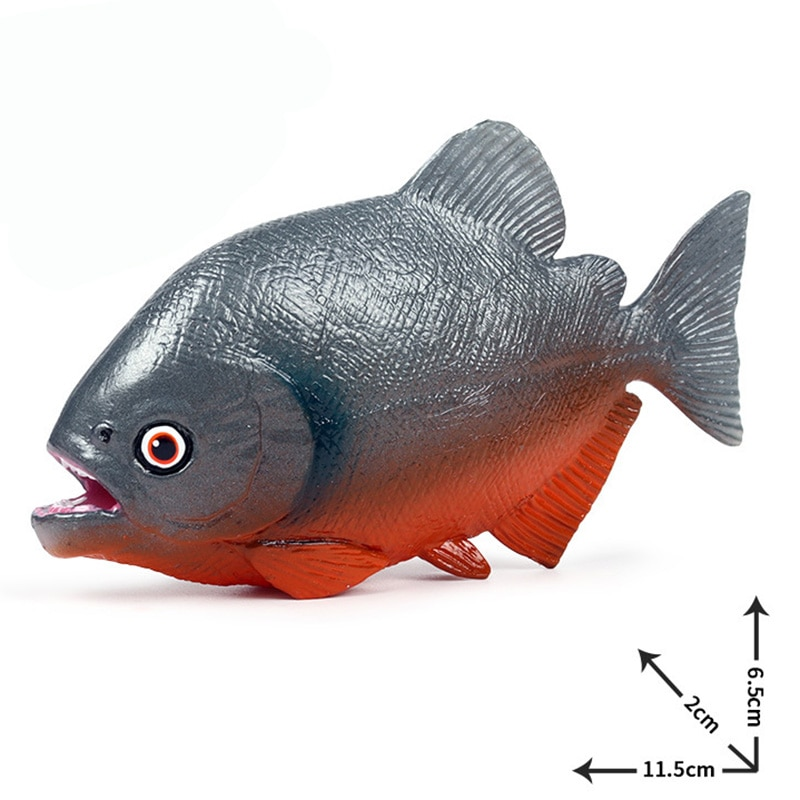 Piraña, figura de animales, juguetes coleccionables, figuras de acción de animales de cognición de peces, juguetes de modelo de plástico para niños