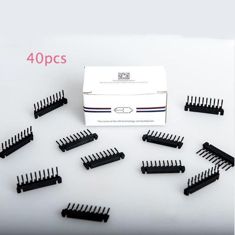 40pcs/lot Black 6D Hair extension Buckle 6D hair extension comb Clips 6D Hair Extensions Machine device