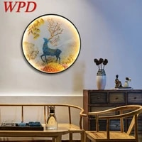 wpd led wall lights modern sika deer figure sconces round lamp creative for home teahouse