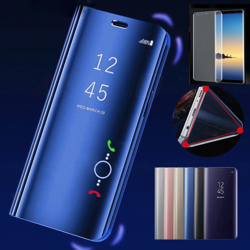 Para LG G8 ThinQ LM-G820N funda de lujo espejo inteligente de vista de cuero funda de soporte para LG G8 ThinQ funda de teléfono