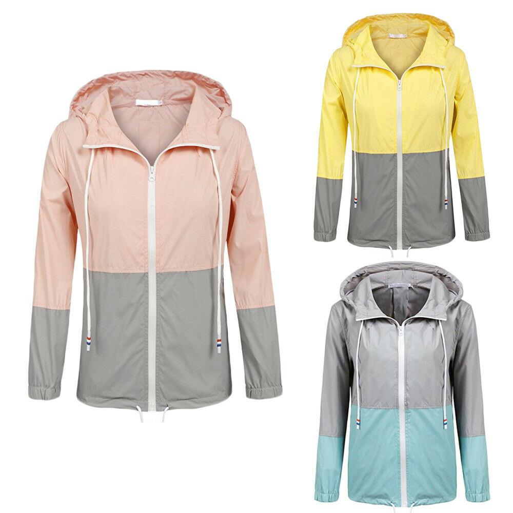 2019 neue Womens Casual Langarm Patchwork Regen Jacke Mantel Leichte Mit Kapuze Mantel Regenmantel Wasserdicht Aktive Outwear