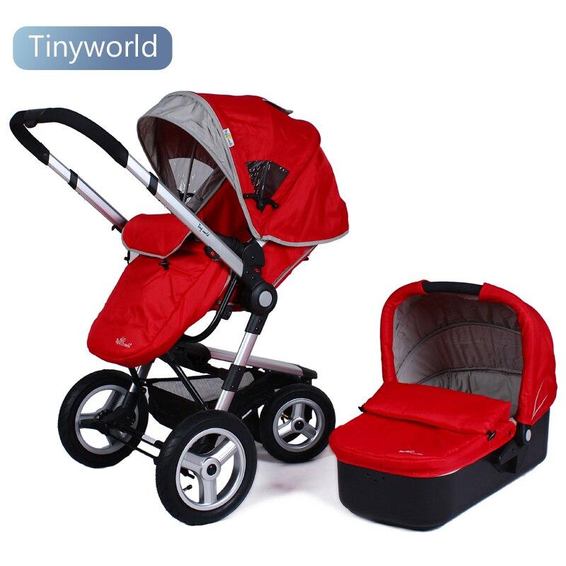 Tinyworld عربة أطفال عالية المناظر الطبيعية يمكن الجلوس والاستلقاء في عربة أطفال قابلة للطي الخفيفة.