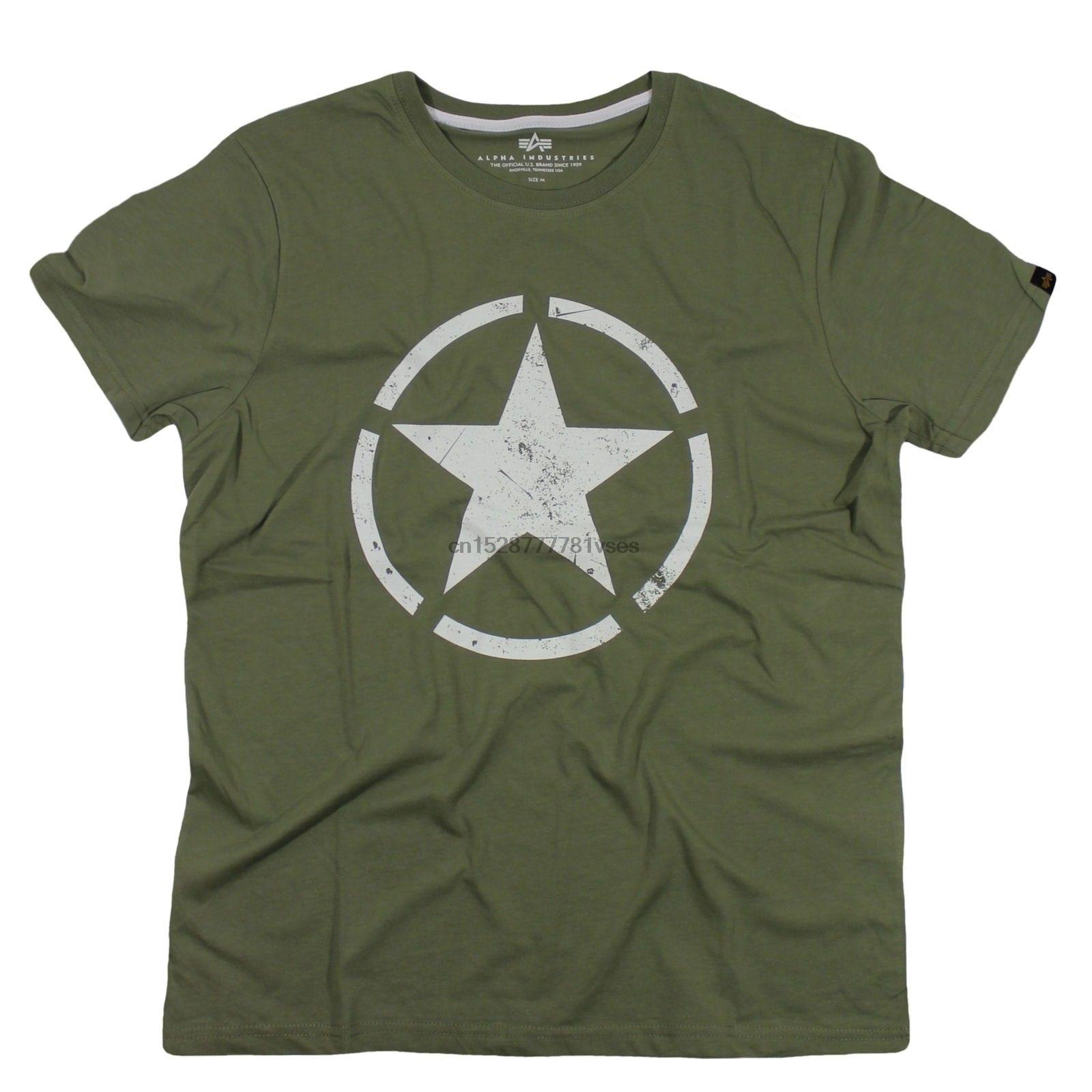 Alpha industries t-shirts estrela t olive moda masculina t camisa frete grátis camiseta superior 2019 manga curta o pescoço