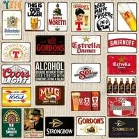 Signes de biere en metal  Plaque metallique Vintage  decor de cinema artisanal retro  pour la maison  30x20cm