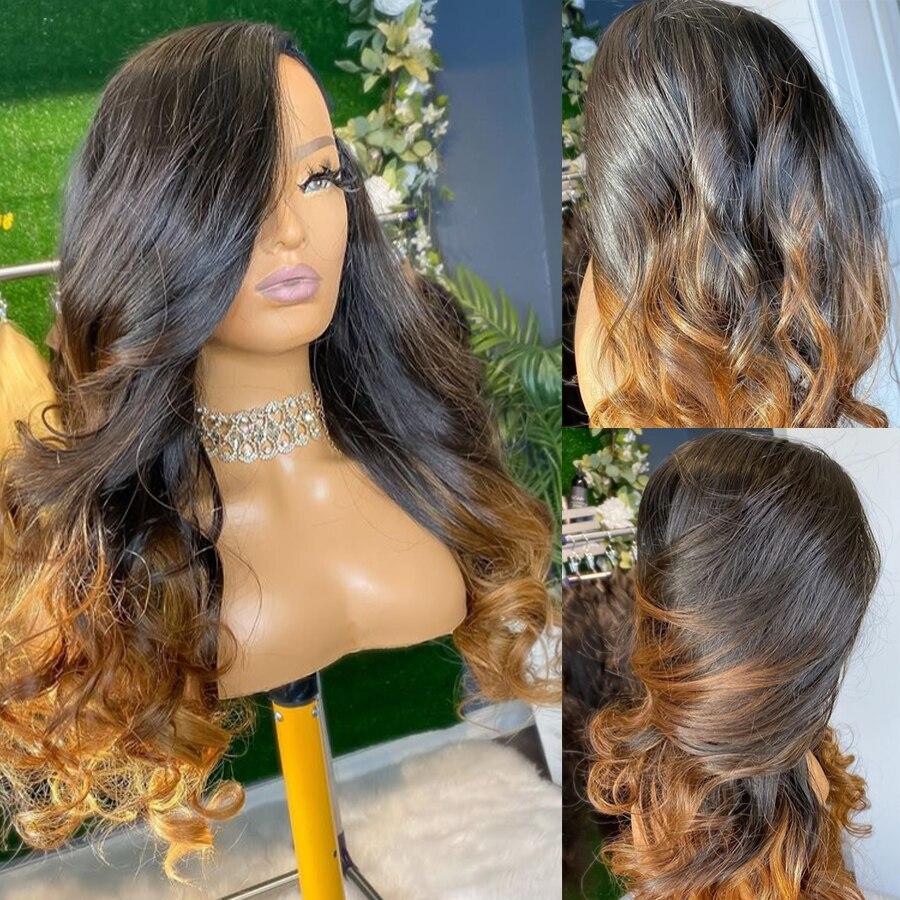 Topodmido 1B marrone Ombre colore 13*6 parrucche frontali in pizzo parrucche Pre pizzicate onda lunga del corpo parrucca indiana dei capelli di Remy 130 150 densità