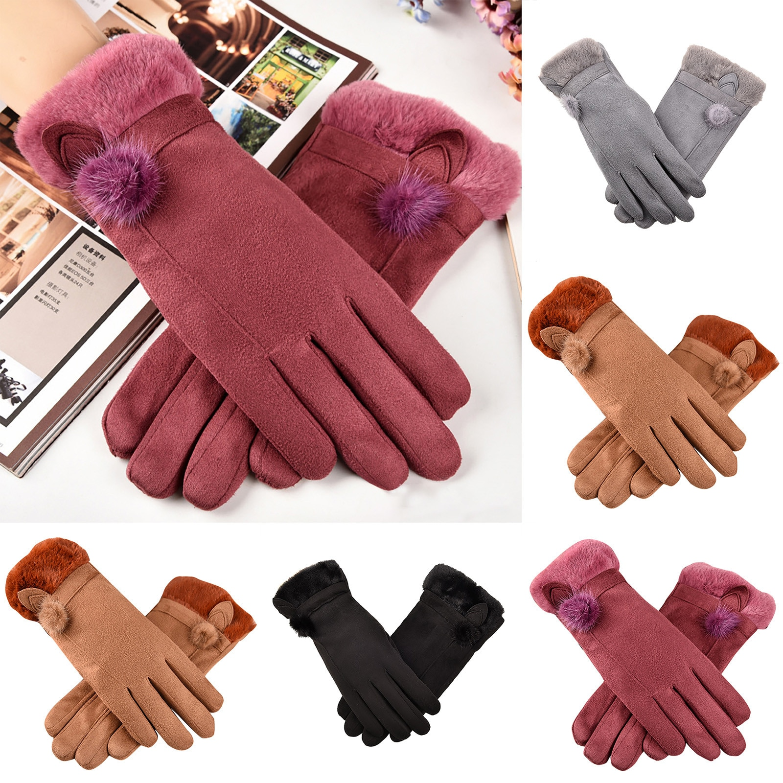 Female Winter Warm Knitted Full Finger Gloves Men Solid Woolen Touch Screen Mittens Women Thick Warm Cycling Driving перчатки