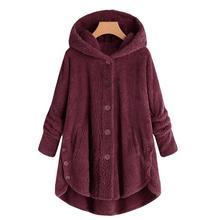 Frauen Jacke Winter Warm Langen Hülse Mit Kapuze Jacke Flauschigen Taste Pelz Fleece Casual Tasche Einreiher Outwear Plus Größe