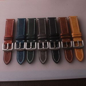 New 18mm 20mm 22mm 24mm Light Brown Vintage Watch Strap Leather Watchband 7colors Stainless Steel Buckle Clasp Watch Accessories