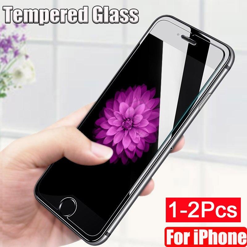 1-2 шт закаленное стекло для iPhone 11 Pro Max XS Защитная пленка для экрана для iPhone X XS XR 7 8 6 6S Plus