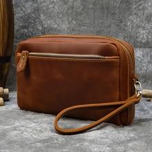 MAHEU Large Capacity Hand Clutch With Shoulder Strap Genuine Leather Big Purse Storage Bag Men Women Make Up Wash Bag Real Skin