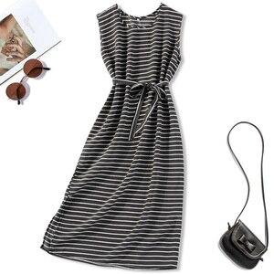 Women's 100% Mulberry Silk Crepe Silk Black Stripes Printed Crew Neck sleeveless Long Dress JN683