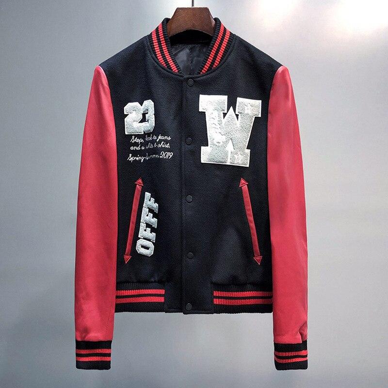 Bestickte Baseball Jacke Männer 2020 Mode Marke Rot Pu Leder Sleeve Herren Slim Fit Varsity Sweatshirt Adler Veste Homme