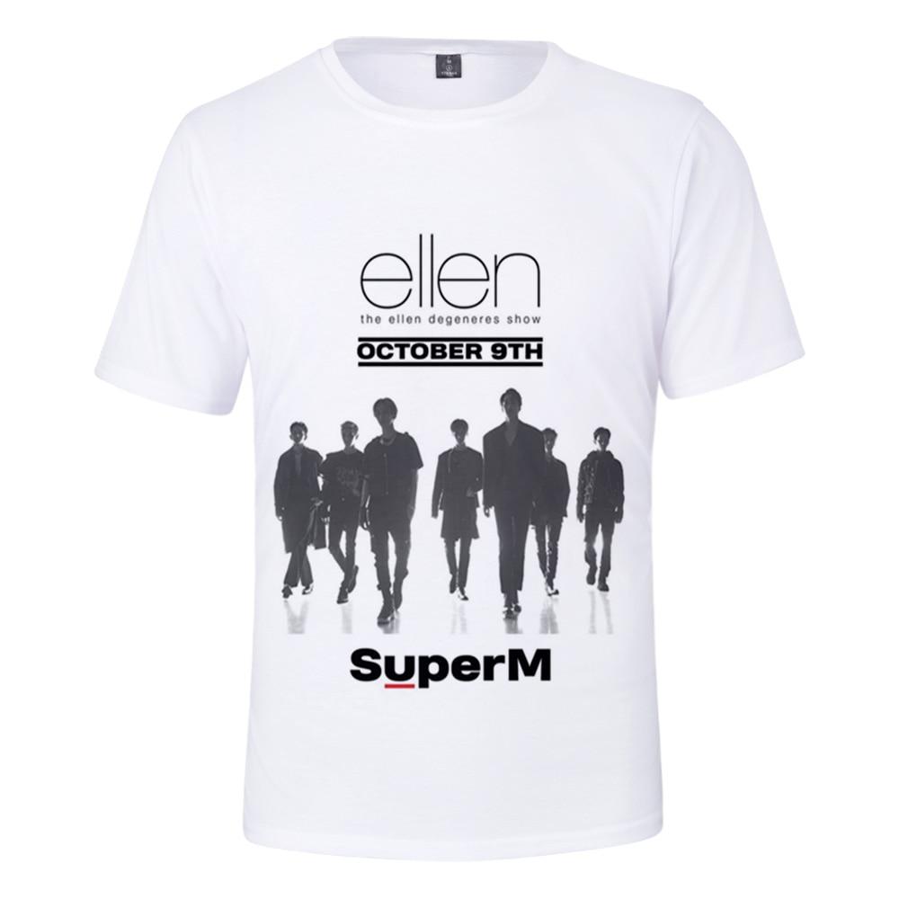 Kpop 2019 nuevo grupo masculino Super M BAEK HYUN Ku Taemin 3D camiseta estampada hombres/mujeres verano Casual corto camiseta de manga