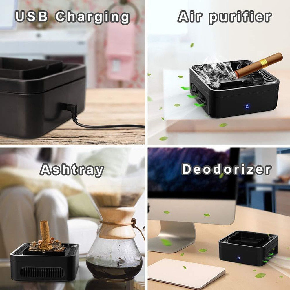 Ashtray Portable USB Rechargeable Smokeless Ashtray Secondhand Smoke Air Filter Purifier Home Office Car Holder enlarge