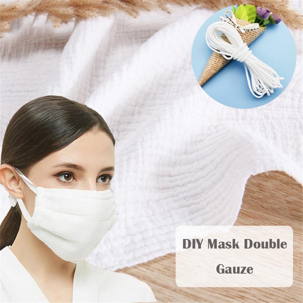 140x100cm tela de gasa de algodón de doble capa hecha a mano DIY máscara de gasa doble tela de algodón traje para la tela del bebé con máscara de cuerda 10m