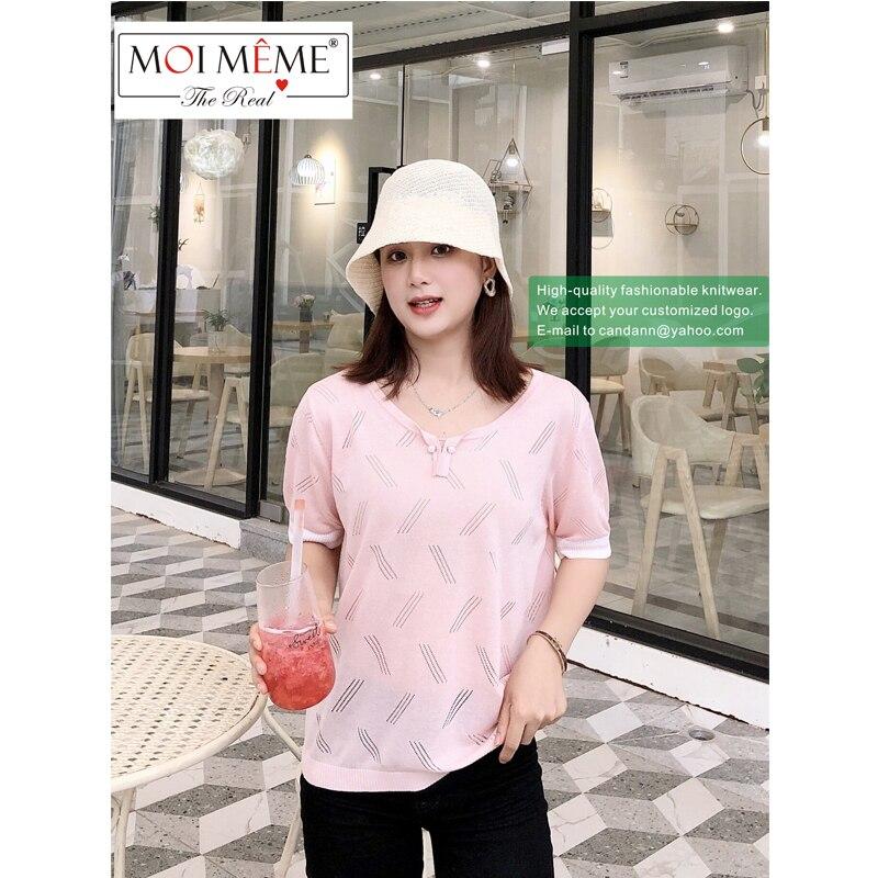 5 PCS Wholesale 2021New designer famous designer fashion knit women's short-sleeved knitwear hollow line V-neck sexy knitwear enlarge