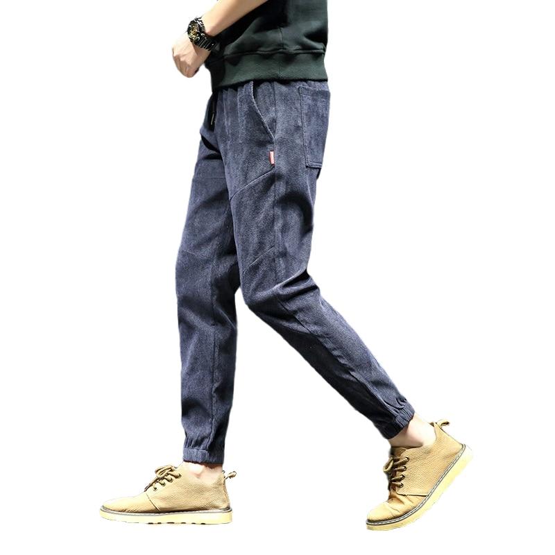 2020 pantalones de pana ajustados hip hop para hombres, pantalones casuales de moda, pantalones negros para correr, ropa estilo coreano para hombre