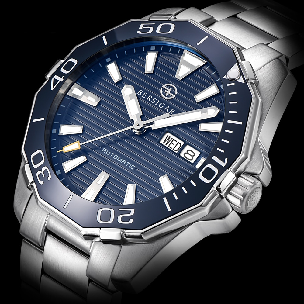 BERSIGAR 2021 Automatic Mechanical Watch 100M Waterproof Sports Business Wrist Watch Japan NH36 Stainless Steel Men Watch  Clock