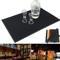 Non-slip Bar Rubber Mat PVC Pad Coaster Kitchen Placemat Bar Rectangle Mat Cup Mug Set Beer Whiskey Waterproof Bar Accessories
