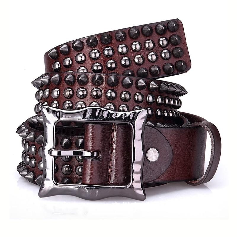 Rivet Punk Men Women Pin Buckle Belt High Quality Genuine Leather Personality Belt Luxury Gift for Men Women Hip Hop Belt 2021