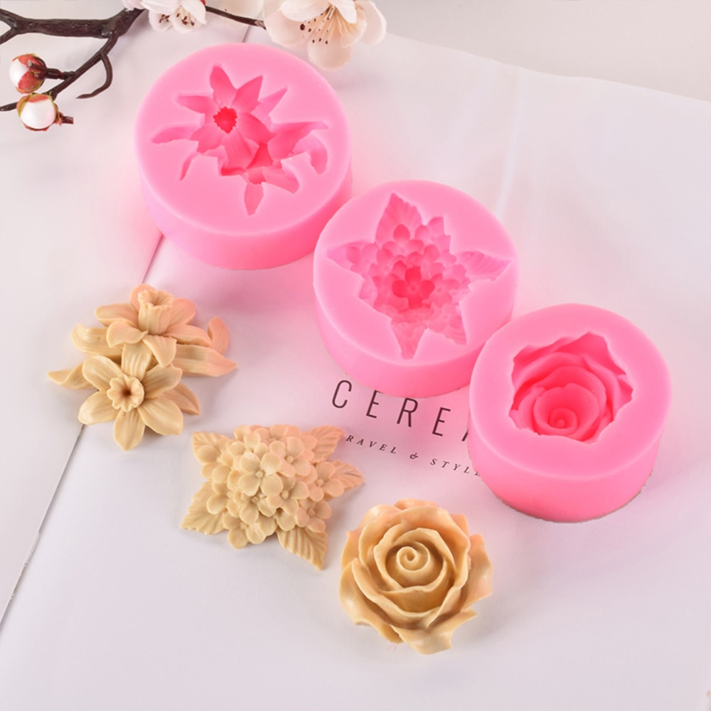 1pcs Flower Rose Silicone Cake Mold 3D Fondant Cupcake Jelly Candy Chocolate Decoration Baking Tool Moulds