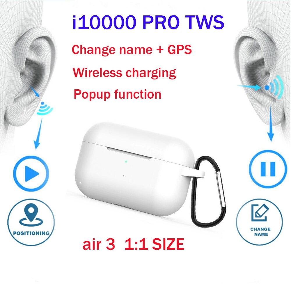 Original i10000 TWS copia Air 3 ventana emergente Auriculares inalámbricos con Bluetooth carga inalámbrica pk w1 h1 1536u chip i200 i500 i1000tws