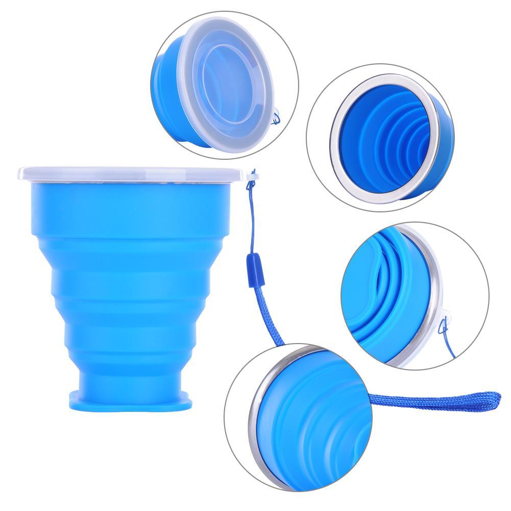 240ml copo de viagem de aço inoxidável silicone retrátil dobrável copos de café telescópica dobrável copo de água esporte ao ar livre
