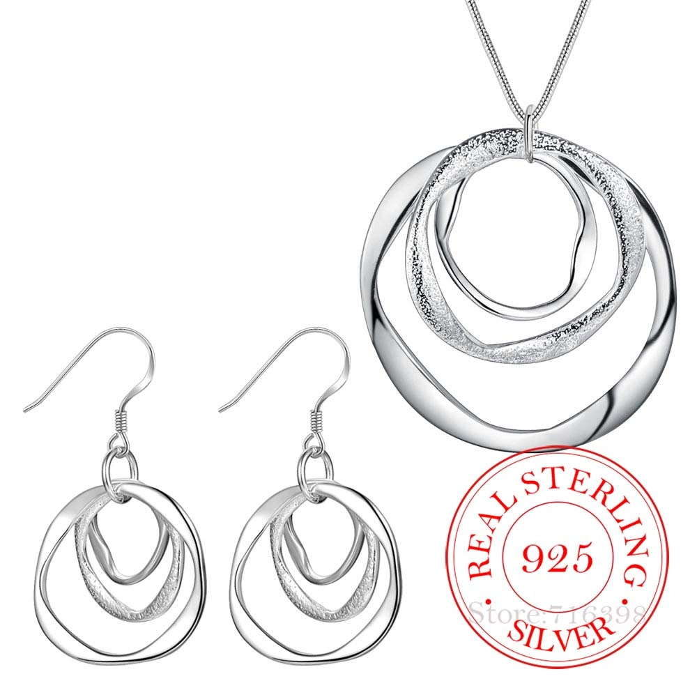 AliExpress - 925 Sterling Silver Jewelry Set 3-circle Earrings Geometric Choker Necklaces Jewelry Sets for Women Statement Pendientes Brincos