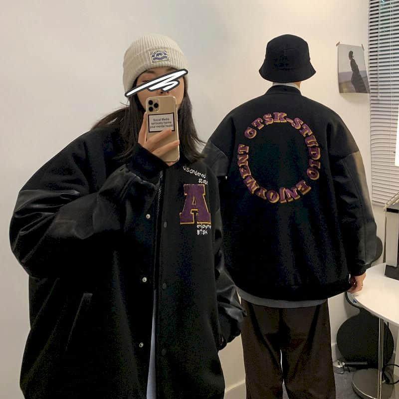 men womenBaseball uniform jacket autumn Hong Kong style Korean letter embroidery coat loose stitching thicken lovers jacket