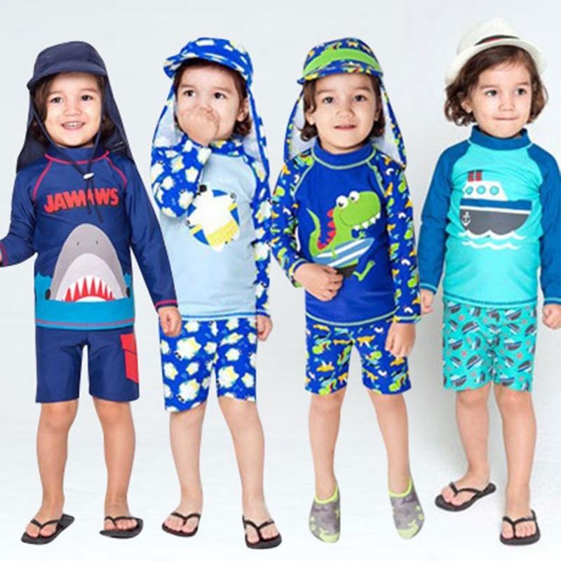 Kids Boy Swimsuit Two Piece Children Swimwear Child Swim Trunk Beach Cap Baby Cartoon Split Rash Guard Bathing Suit