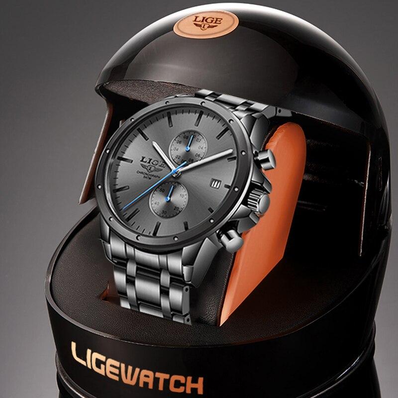 ساعات رجالي رياضية طراز 2021 مقاومة للماء ساعة رجالية ماركة LIGE ساعة رجالية فاخرة ساعة رجالية للأعمال ساعة يد كوارتز ساعة رجالية
