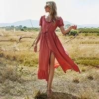qicius elegant long casual dress summer maxi dresses for women a line ruffles beach party solid female vetement femme 2021 robes