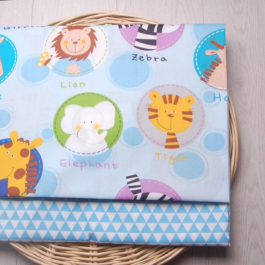 160cm * 50cm niebieski animal zoo baby kids tkanina bawełniana ściereczka z nadrukiem szycie pikowania pościel poduszka odzież sukienka tkanina patchworkowa