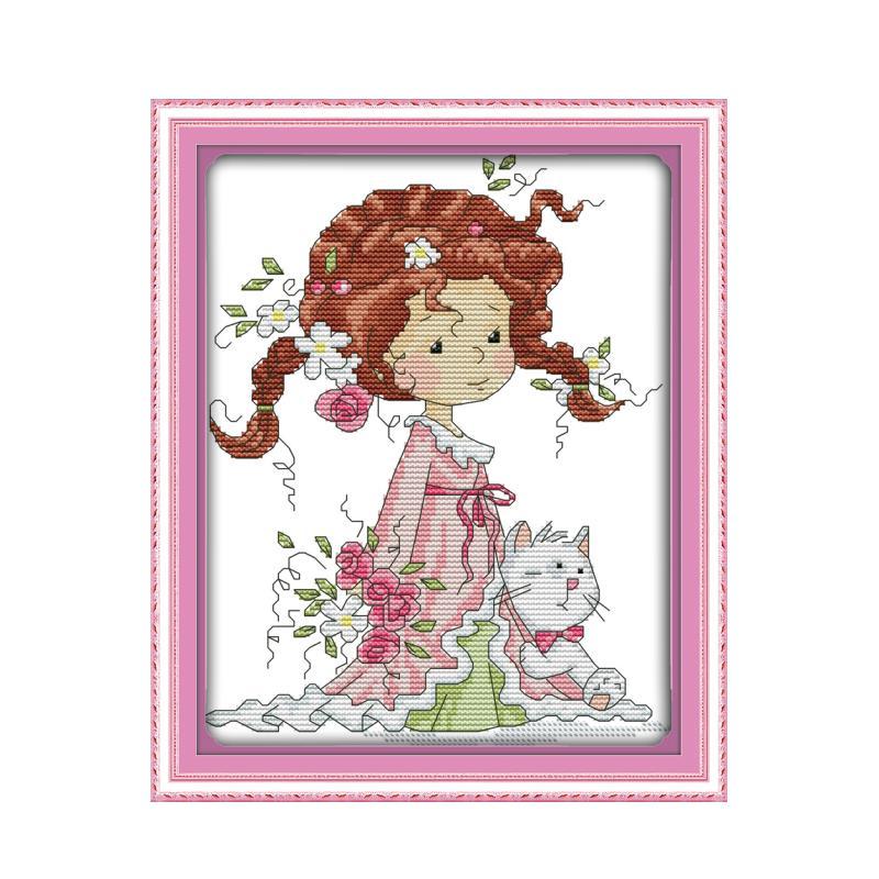 The little girl and kitten cross stitch kit DIY embroidery set handmade needlework cross-stitching DMC color Dreamfounder