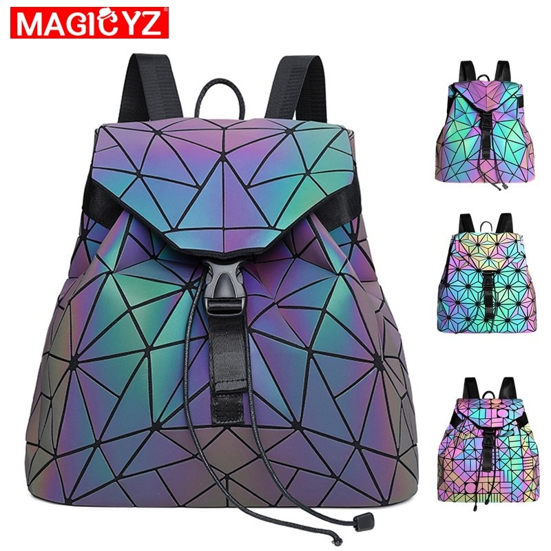 MAGICYZ المرأة الليزر مضيئة على ظهره حقيبة كتف هندسية للطي طالب الحقائب المدرسية لفتاة في سن المراهقة المجسم كيس دوس