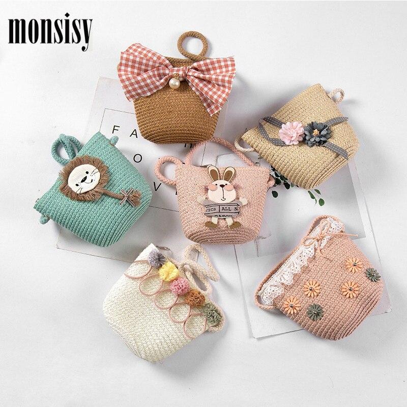 Bolsa de paja para chico Monsisy, bolso de mimbre para niños y niñas, bolso de hombro, bolso de verano para niño, monedero, bolsa de paja para playa