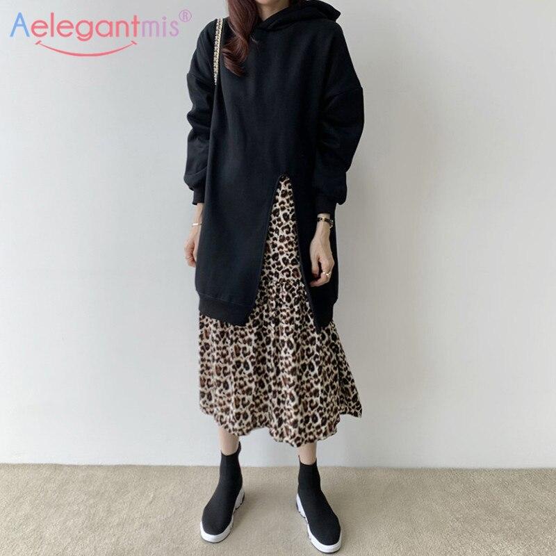 Aelegantmis corée Chic en vrac faux 2 ensembles à capuche robe Patchwork robe léopard femmes décontracté fendu à capuche sweat robe femme