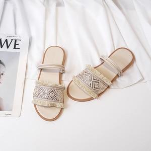 Женские гладиаторы, богемный стиль; Комнатные тапочки; Женская обувь на плоской платформе в богемном стиле; Модная пляжная Летняя женская обувь без застежки, большие Размеры